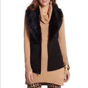 Chico's size 1 ( M/8) black faux fur trimmed vest